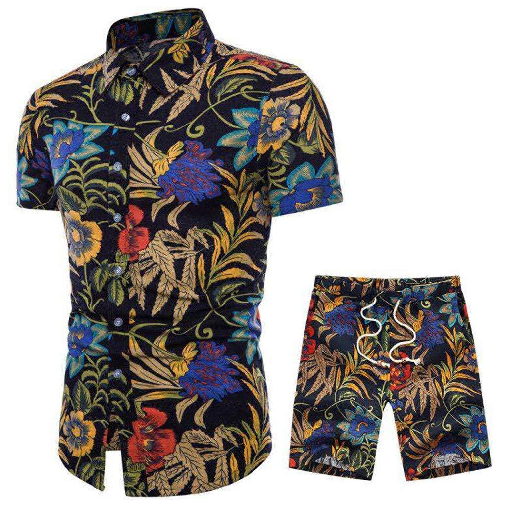UFODB Herren Jogginganzug Sommer Suit Print Sportanzug Freizeitanzug Kurze T-Shirt Hemd Shorts Kurzhose Joggingshose Joggin Sportshirt Fitness Trainingsanzug