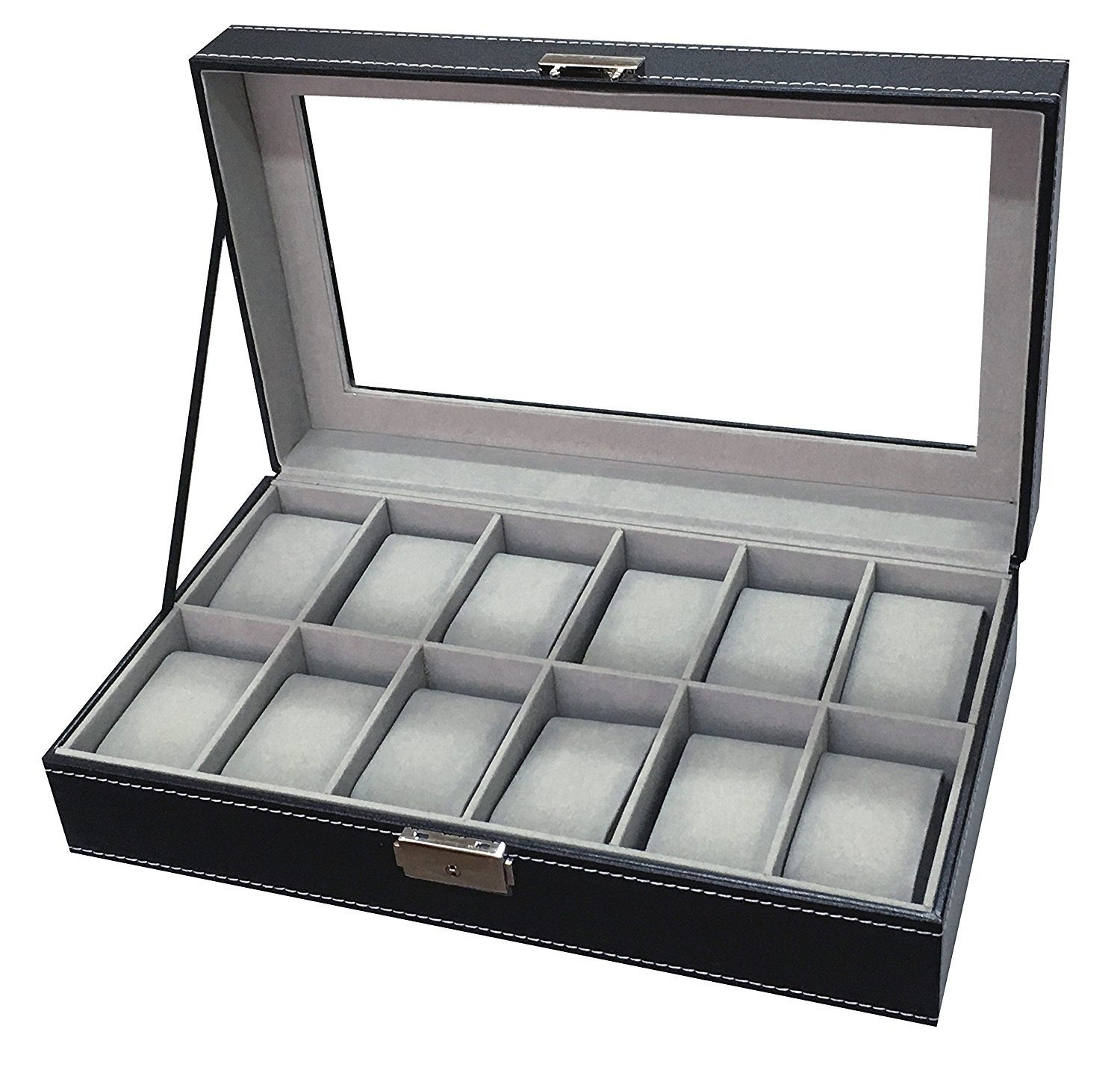 Manzoo 12 Mens Large Watch Box Black Pu Leather Display Glass Top Jewelry Case Organizer Box