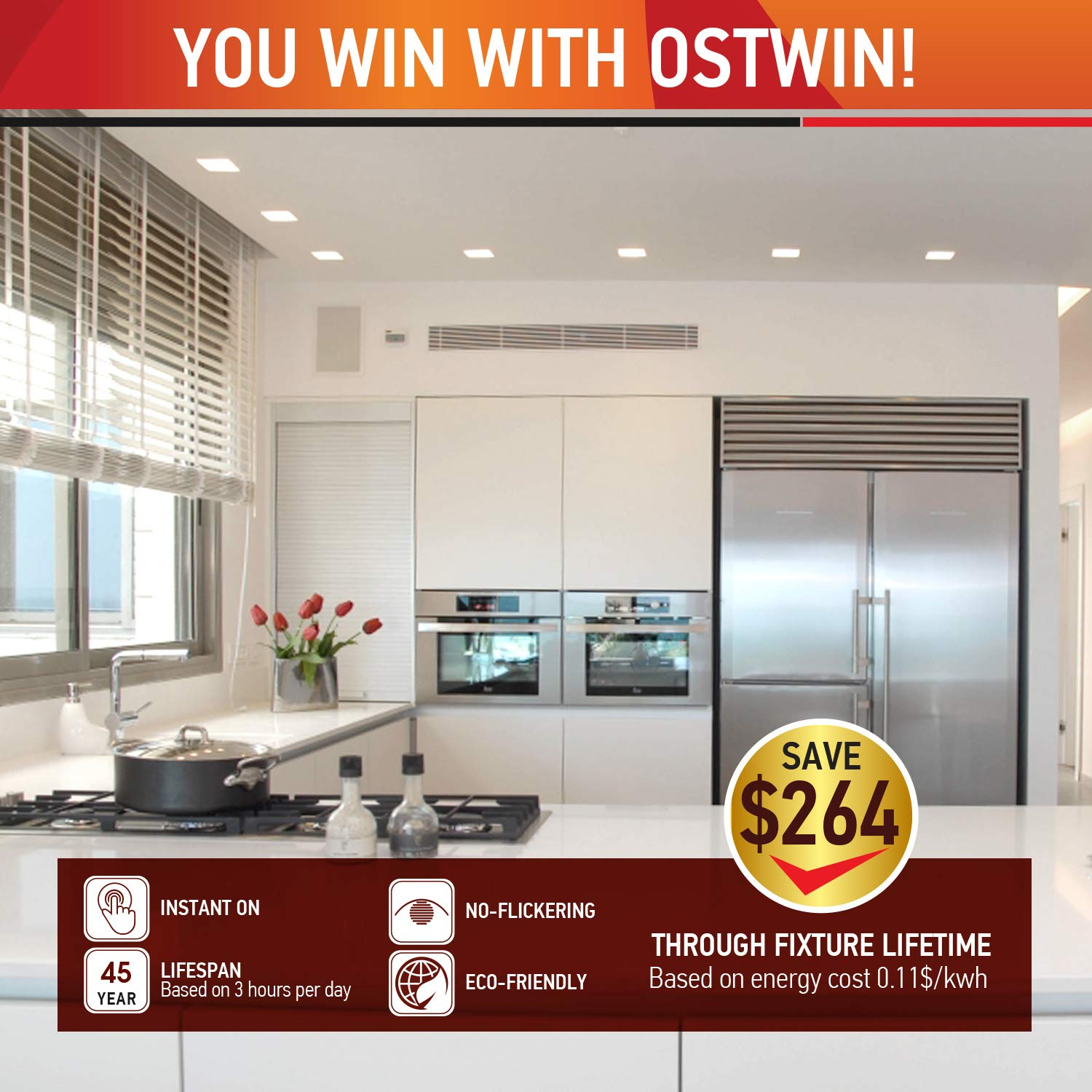 OSTWIN (4 Pack) 6 inch 12W (60 Watt Repl.) IC Rated LED Recessed Low Profile Slim Square Panel Light with Junction Box, Dimmable, 5000K Daylight 840 Lm. No Can Needed ETL & Energy Star Listed by OSTWIN (Image #6)