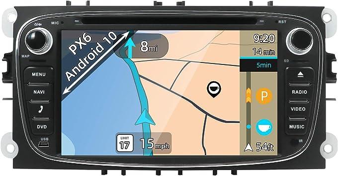 YUNTX Android 10 Autoradio Compatible con Ford Focus/Mondeo/Galaxy/Cmax - 4G+64G - GPS 2 DIN - Cámara Trasera Gratis - Soporte Dab+ / DVD/USB/SD / 4G ...