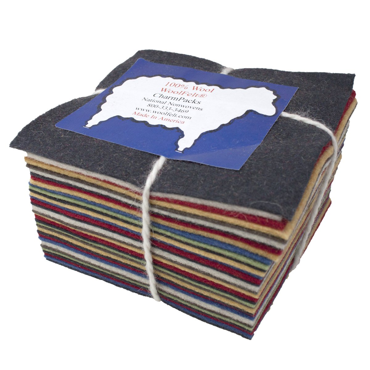 30 5 Squares 100% Wool Felt Americana Colors Charm Pack National Nonwovens 4336995644