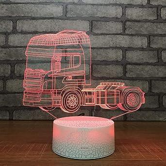 3D Óptico Illusions Led Lámparas Camion Led Lámpara De Mesa Luces ...