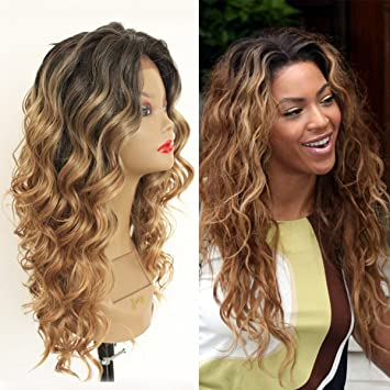 Amazon Com Qd Tizer Long Curly Wavy Blonde Ombre Glueless Lace