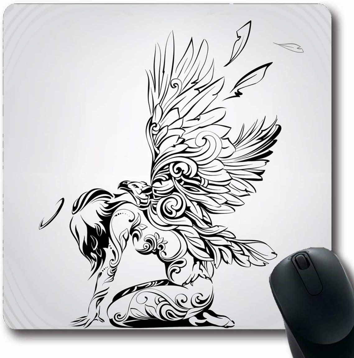Alfombrillas Plumas Tatuaje Alas de ángel Águila Curl Línea ...