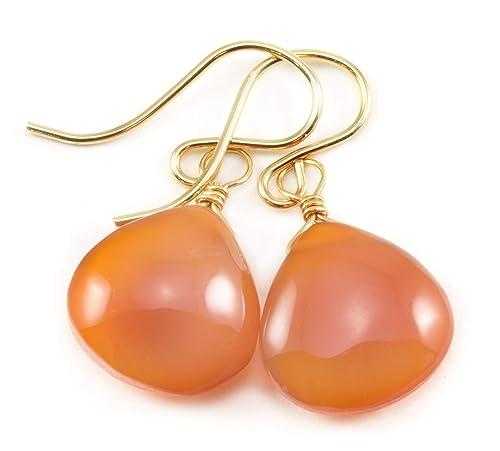 Carnelian Earrings Smooth Heart Briolette Shape Orange Simple Dangle Drops