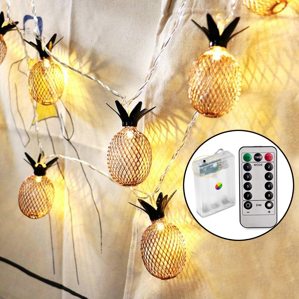 Sunmid Waterproof 10Feet 20 LED Vintage Bronze Color Pineapple LED Night Living Room Bedroom Decor LED String Lights for Xmas Party Home Decoration and All Fashion Party Deco by Sunmid
