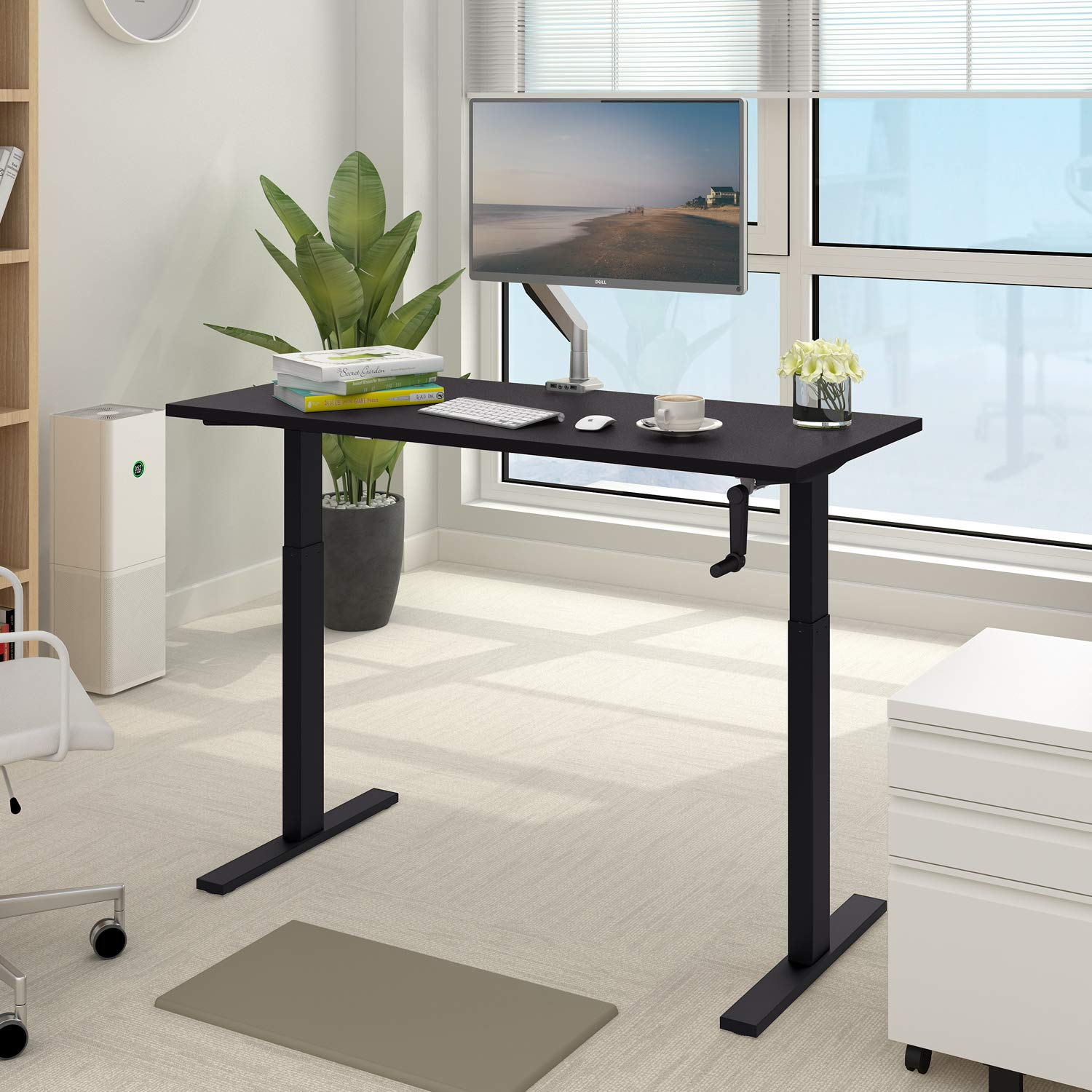 DEVAISE Standing Desk – 55 Adjustable Sit to Stand Up Desk with Crank Handle, Black