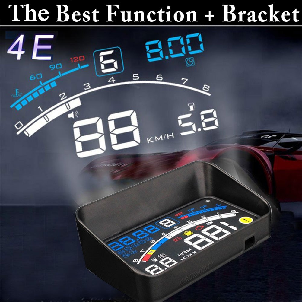 5.5 inch OBDII Car Windshield HUD Head Up Display, OBD2 II/EUOBD car HUD Head Up Display with Over speed Warning System, Projector Windshield Auto Electronic Voltage Alarm, Bracket (blue) by blue--net (Image #2)