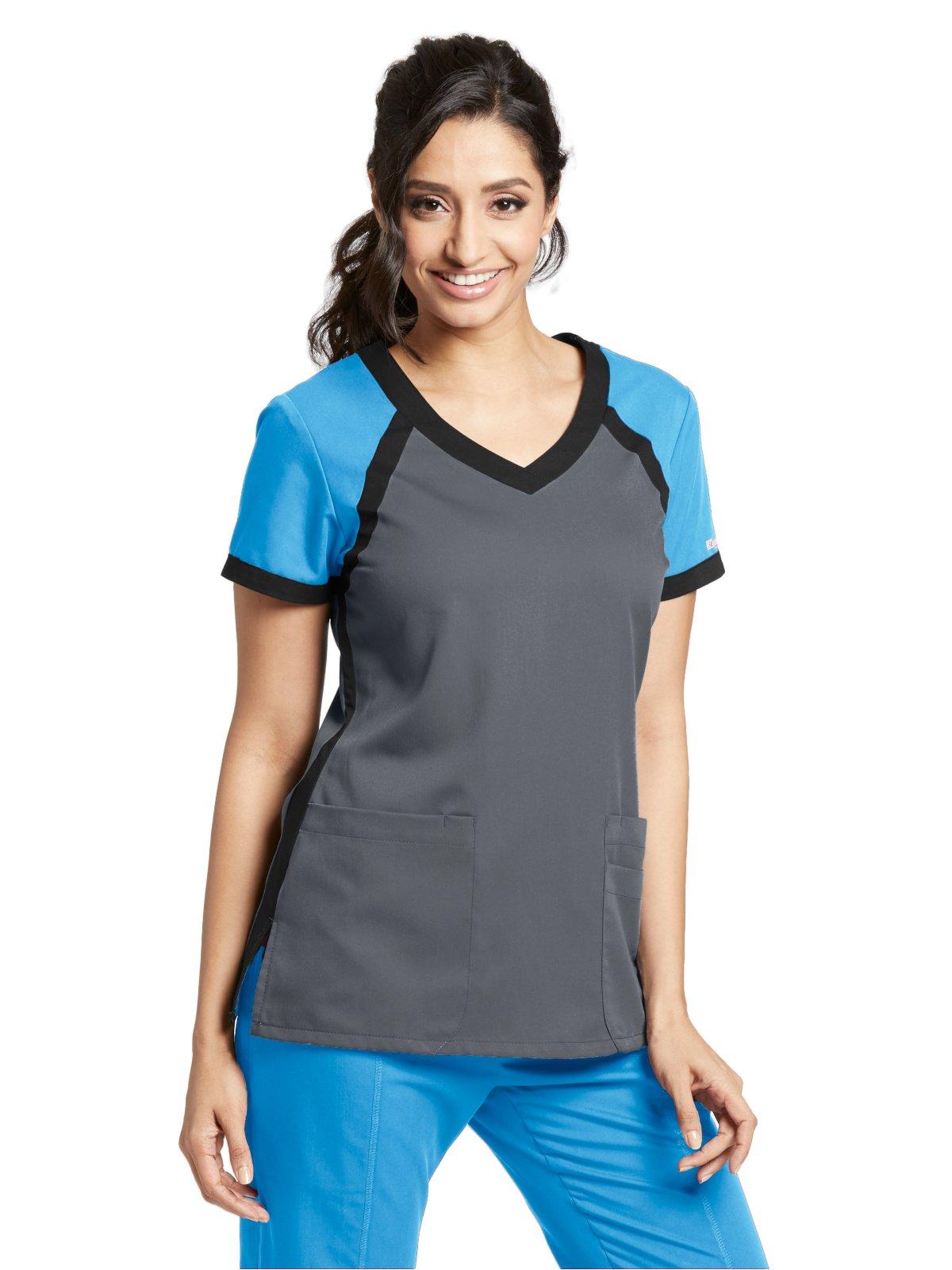 Grey's Anatomy Active 41435 Color Block V-Neck Top Steel/Iceberg/Black M