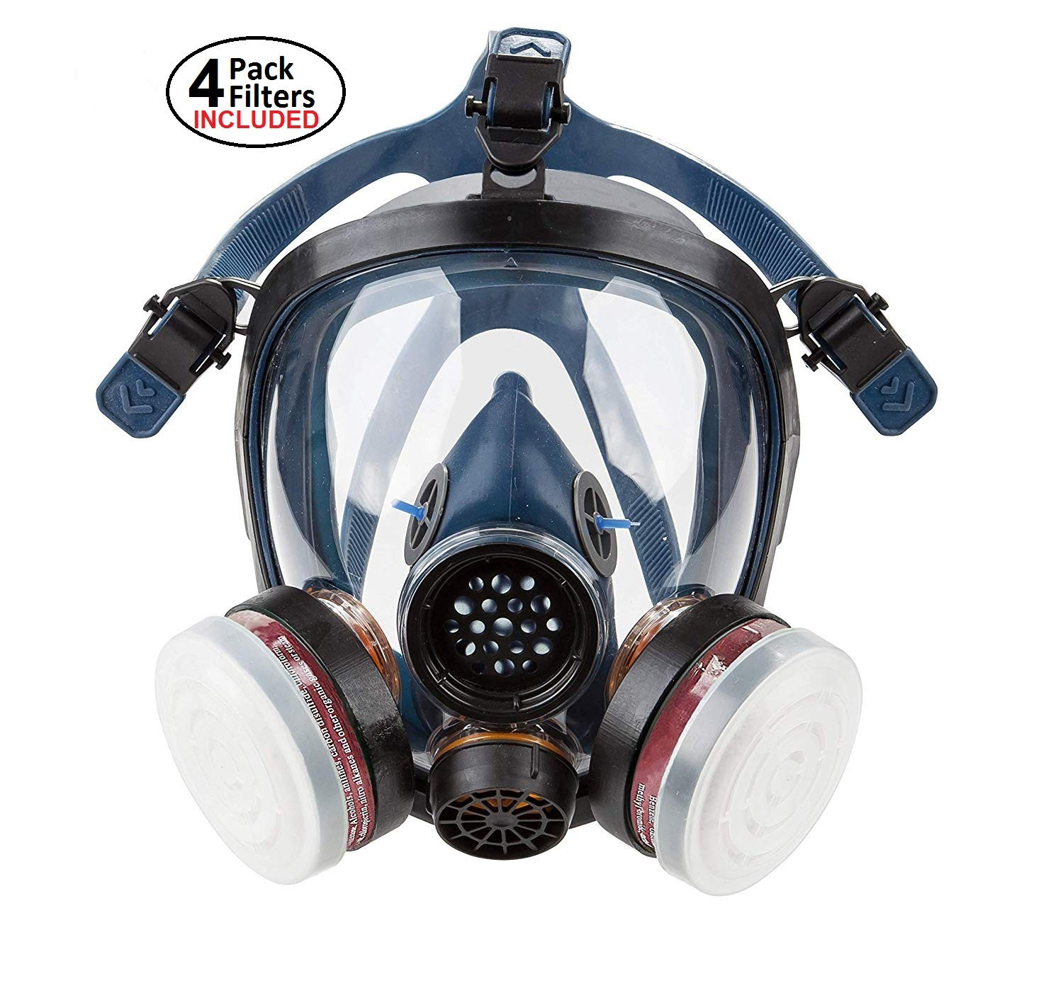 Full Face Organic Vapor Respirator - Safety Mask - Double N95 Activated Charcoal Air filter - for Construction, Cleaning and Industrial Work - Protective Shield from Chemicals, Mold and Dust by Safe Breath