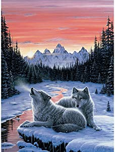 Bits and Pieces - 1000 Piece Glow in The Dark Puzzle - Winter's Dawn, Snowy Winter, Wolf - by Artist Jeff Tift - 1000 pc Jigsaw