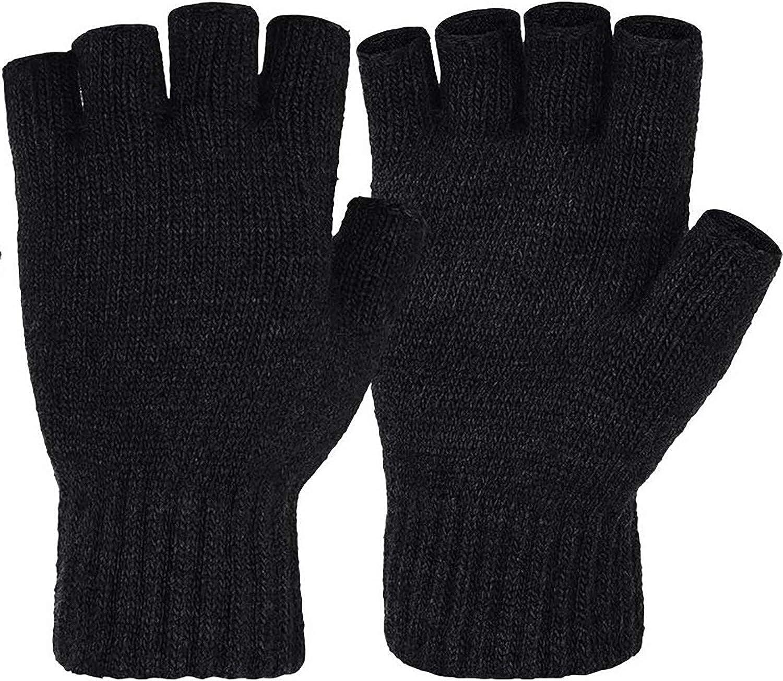Ansmio Unisex 2 Pair Wool Winter Fingerless Gloves, Knit Warm Half Finger Gloves