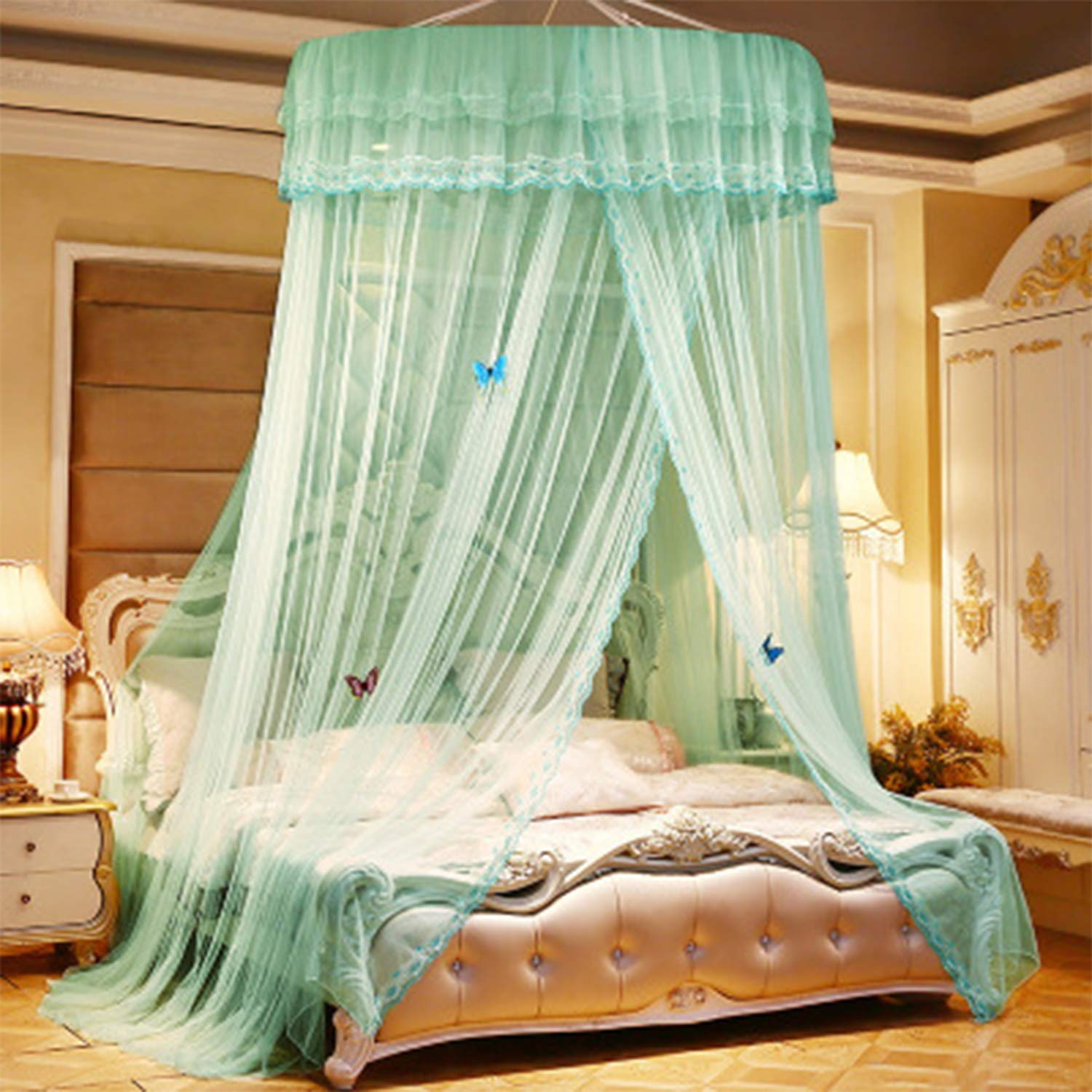 HEIFEN Mosquito Net Heightening Dome Design 360° All-Round Anti-Mosquito Thickening Encryption Mesh Quick Installation Round Ceiling, Easy to Use and Simple. Green