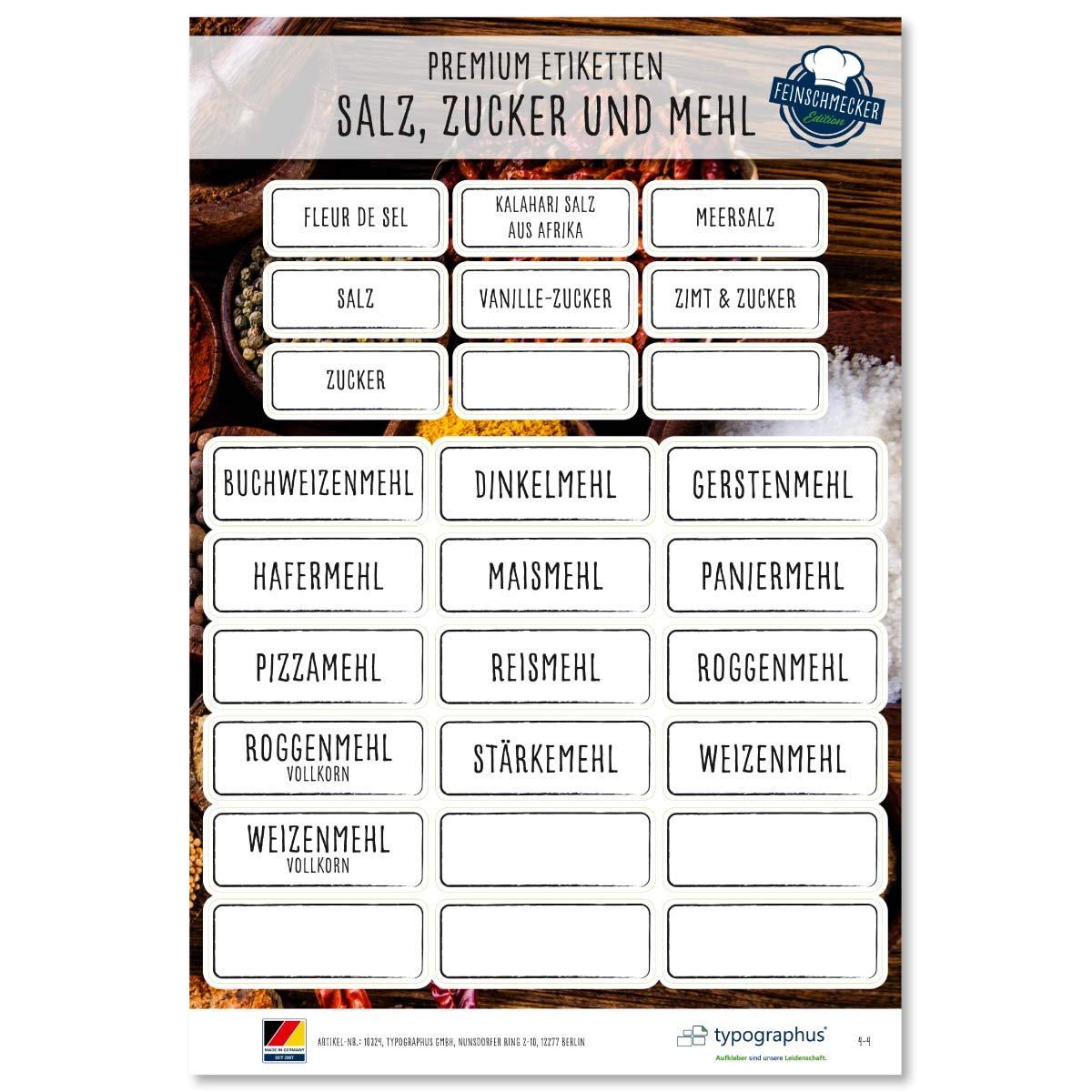 117 adhesivo para especias harina sal /& az/úcar resistente al agua para vasos Etiquetas para especias Feinschmer Edition 2019 color negro//blanco latas y estanter/ías