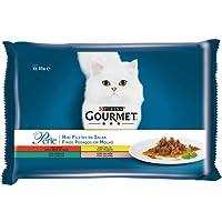 Purina - Gourmet Perle Finas Láminas en Salsa en Variedades de Buey, Pollo, Conejo y Salmón - Pack de 12 x [4 x 85 g] - Total 4080 g
