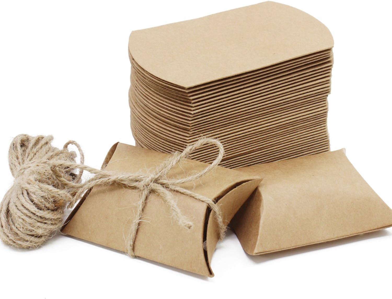 Caja de regalo Candy de papel Kraft, caja de almohadas para bodas, fiestas de cumpleaños, 50 unidades, Pillow Shape