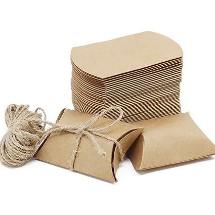Caja de regalo Candy de papel Kraft, caja de almohadas para bodas, fiestas de