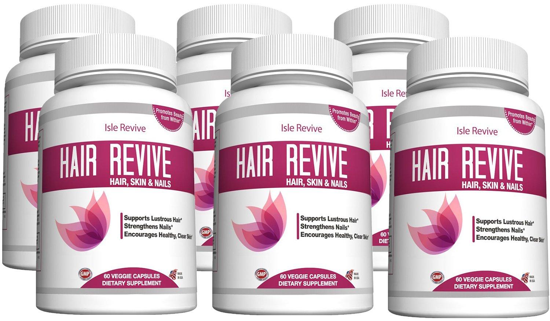 Biotin Hair Skin Nail Supplement - Spirulina Folic Acid Zinc Potassium Vitamin B Iron Manganese Bamboo Extract Promotes Faster Hair Growth Glowing Skin Strong Nails 6 Bottles 60 Capsules Made in USA
