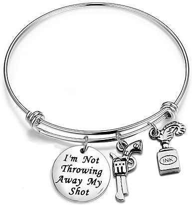 ENSIANTH Im Not Throwing Away My Shot Charm Bracelet Hamilton The Musical Inspired Lyrics Bangle Gift for Her