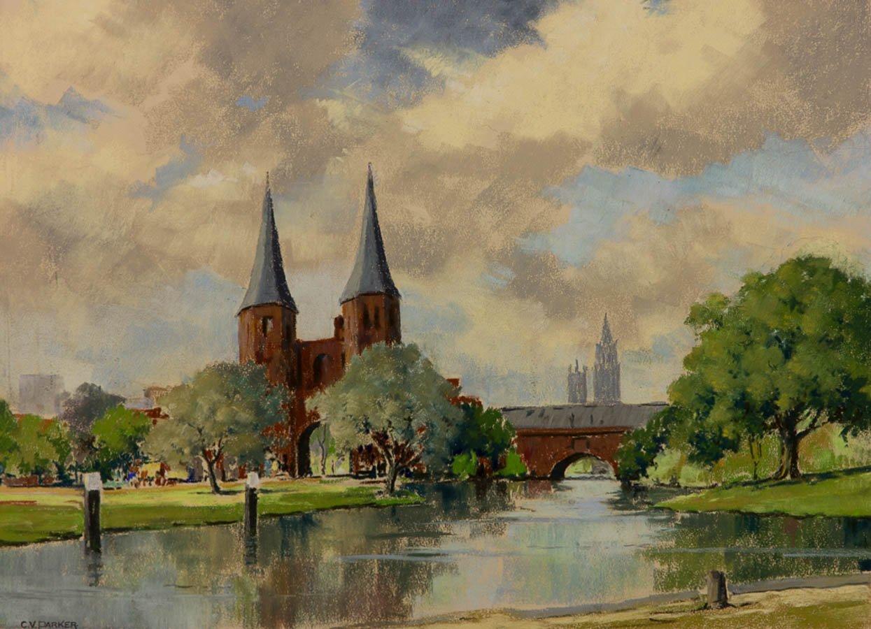 C.V. Parker - Mid 20th Century Pastel, River Scene Sulis Fine Art