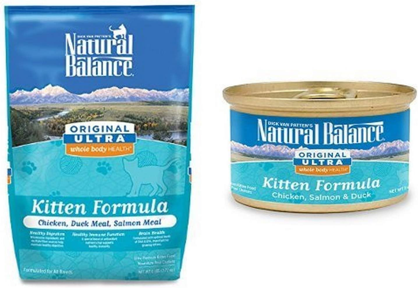 Natural Balance Kitten Formula, Original Ultra Whole Body Health Chicken, Duck Meal & Salmon Meal, Bundle: 6-Pound Bag Dry Cat Food And 24/3-Ounce Cans Wet Cat Food