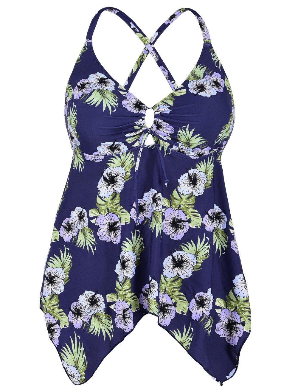 Hilor SWIMWEAR レディース B074T624XZ 20|Navy&purple Floral