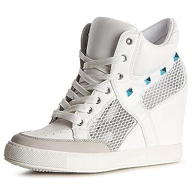 topschuhe24 1118 Damen Sneaker Keilabsatz Stiefeletten Hidden Wedges, Farbe:Weiß;Größe:38