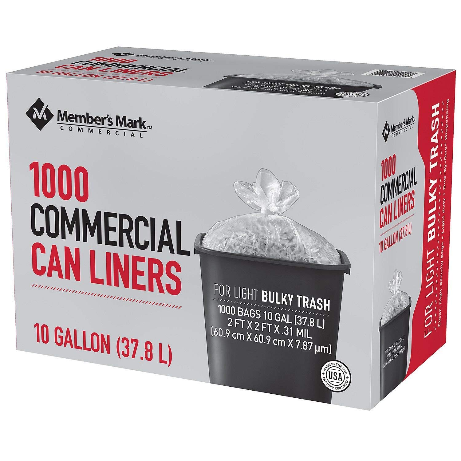 Box of 1000 Trash Bags Commercial 7-10 Gallon Can Liners for Light Bulky Trash