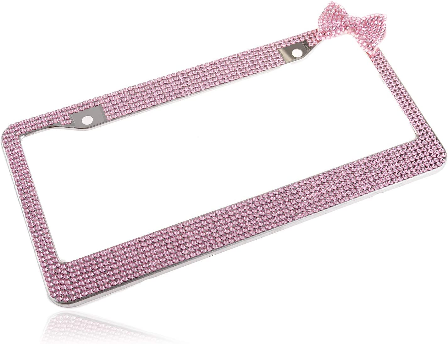 Fashion Lovely Handmade Baby Pink Frame W//Pink Bowknot Bling Crystal License Plate Frame Luxury Rhinestone Premium Stainless Steel Car//Truck//SUV License Plate Holder for Women,Lady,Girls 1 Frame