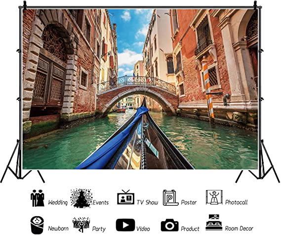 CSFOTO 7x5ft Italy Venice Water City Backdrop River Red House Stone Bridge Boat Family Travel Events Birthday Party Interior Decor Background Adults Kids Photo Booth Studio Props