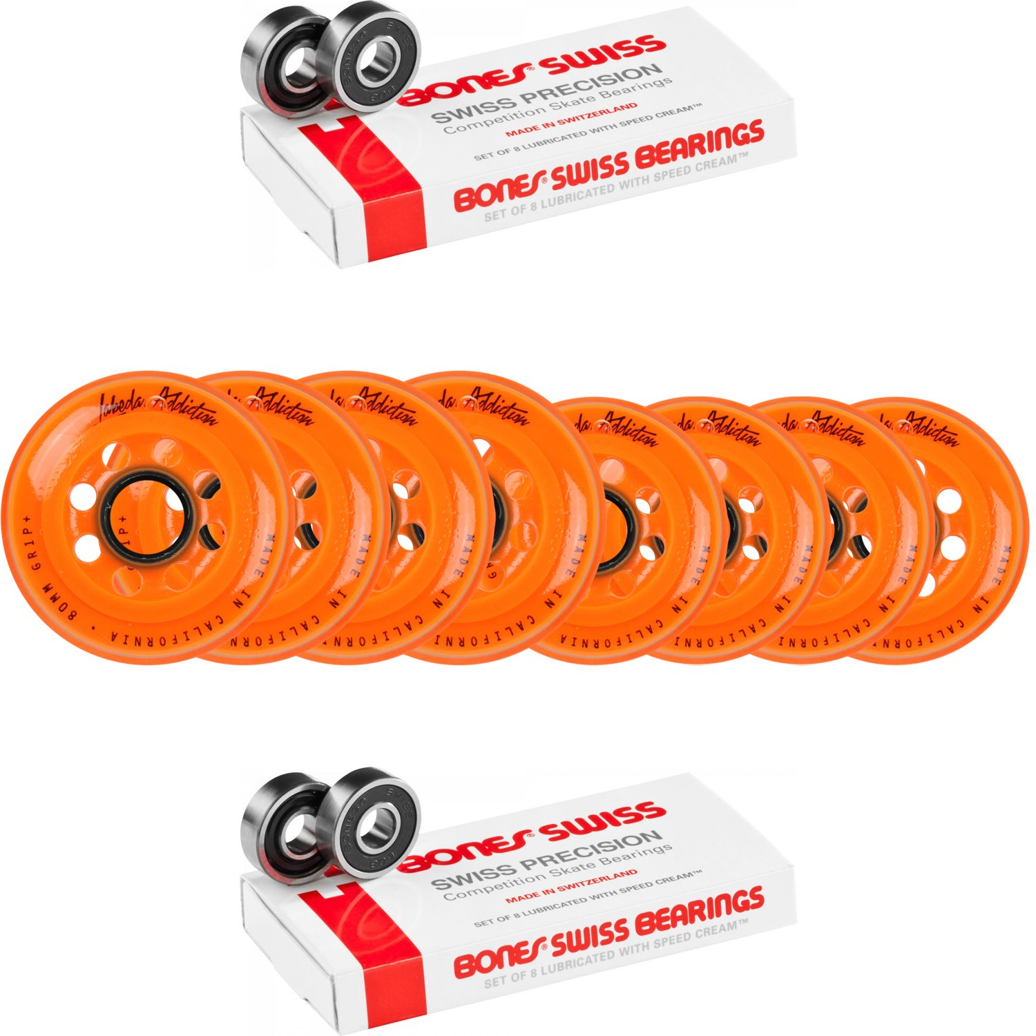 Labeda Wheels 80mm /76mm HILO Set ADDICTION ORANGE Inline Hockey Bones Swiss by Labeda