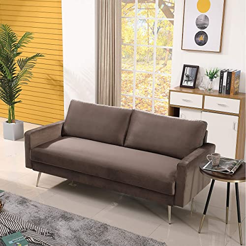 Modern Loveseat Sofa Couch Lounger Suede Cushions Living Room Small Apartment Home Furniture 73 inch,Brown