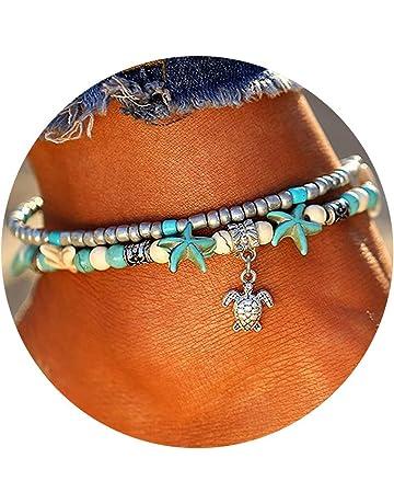Mingjun 3 Pcs Vintage Turtle//Dolphin Anklet Bracelet for Women Summer Barefoot Beach Anklet