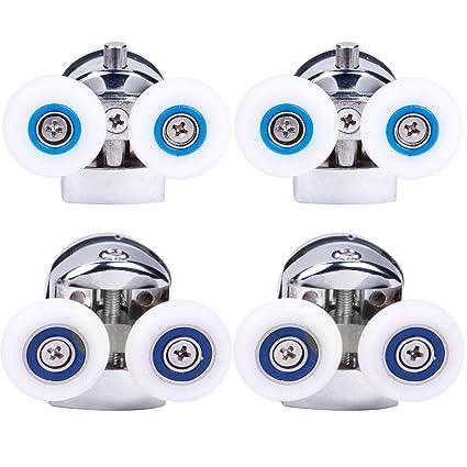 Suprepromise VT060 - Set de 2 rodamientos superiores y 2 inferiores para puerta de ducha: Amazon.es: Hogar
