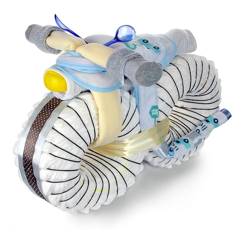 Gro/ße Windeltorte Junge dubistda/© XXL Windelmotorrad Jungen mit viel Zubeh/ör 50cm 67-teilig Geschenk zur Geburt