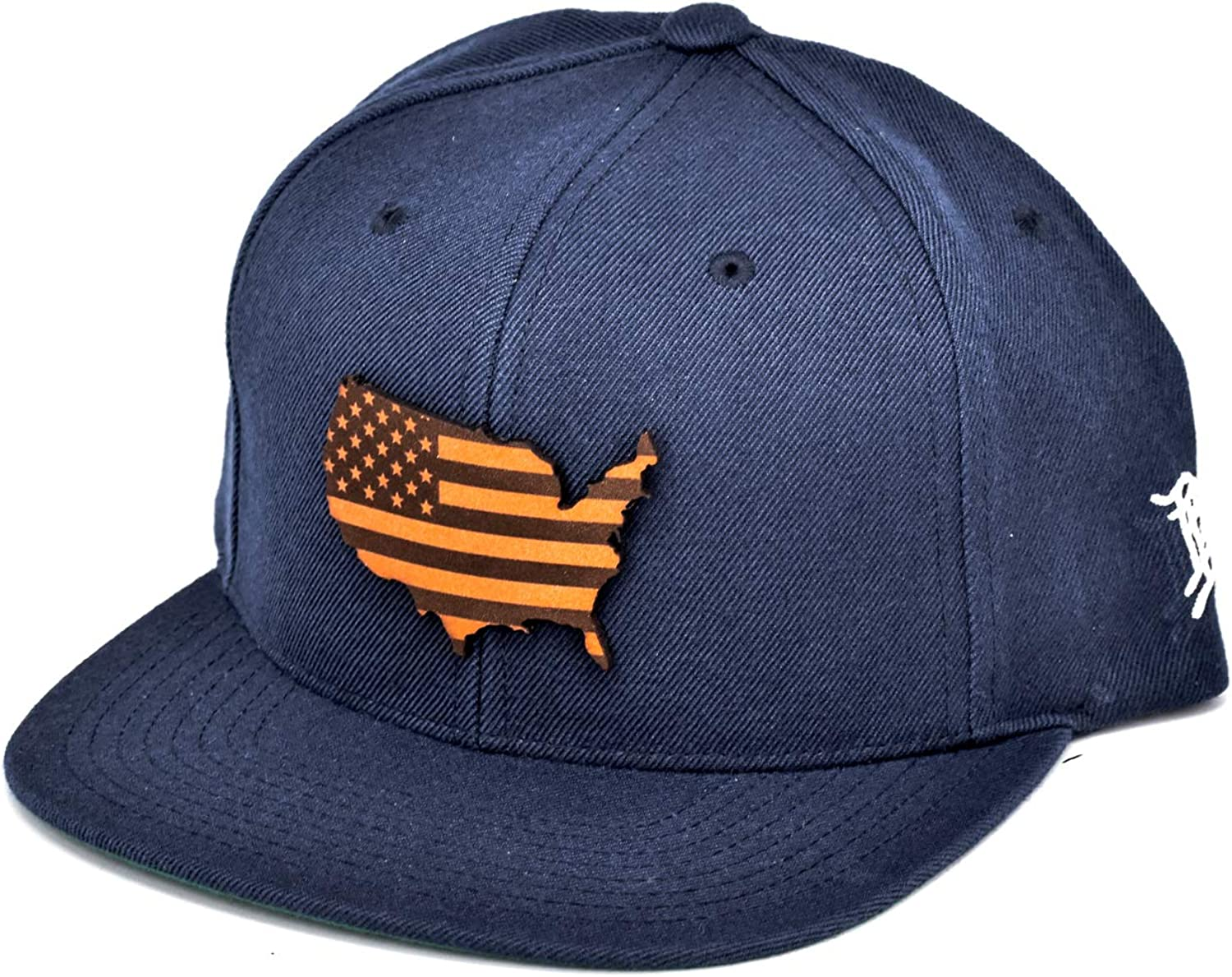 Navy Branded Bills The Patriot Leather Patch Classic Snapback Hat One Size Fits All