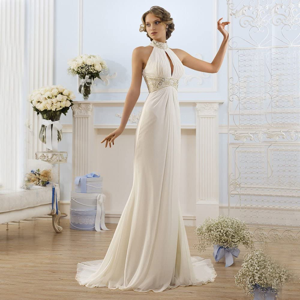 NINI.LADY Womens High Neck Beaded Off Shoulder Greek Style Beading Bridal Gown