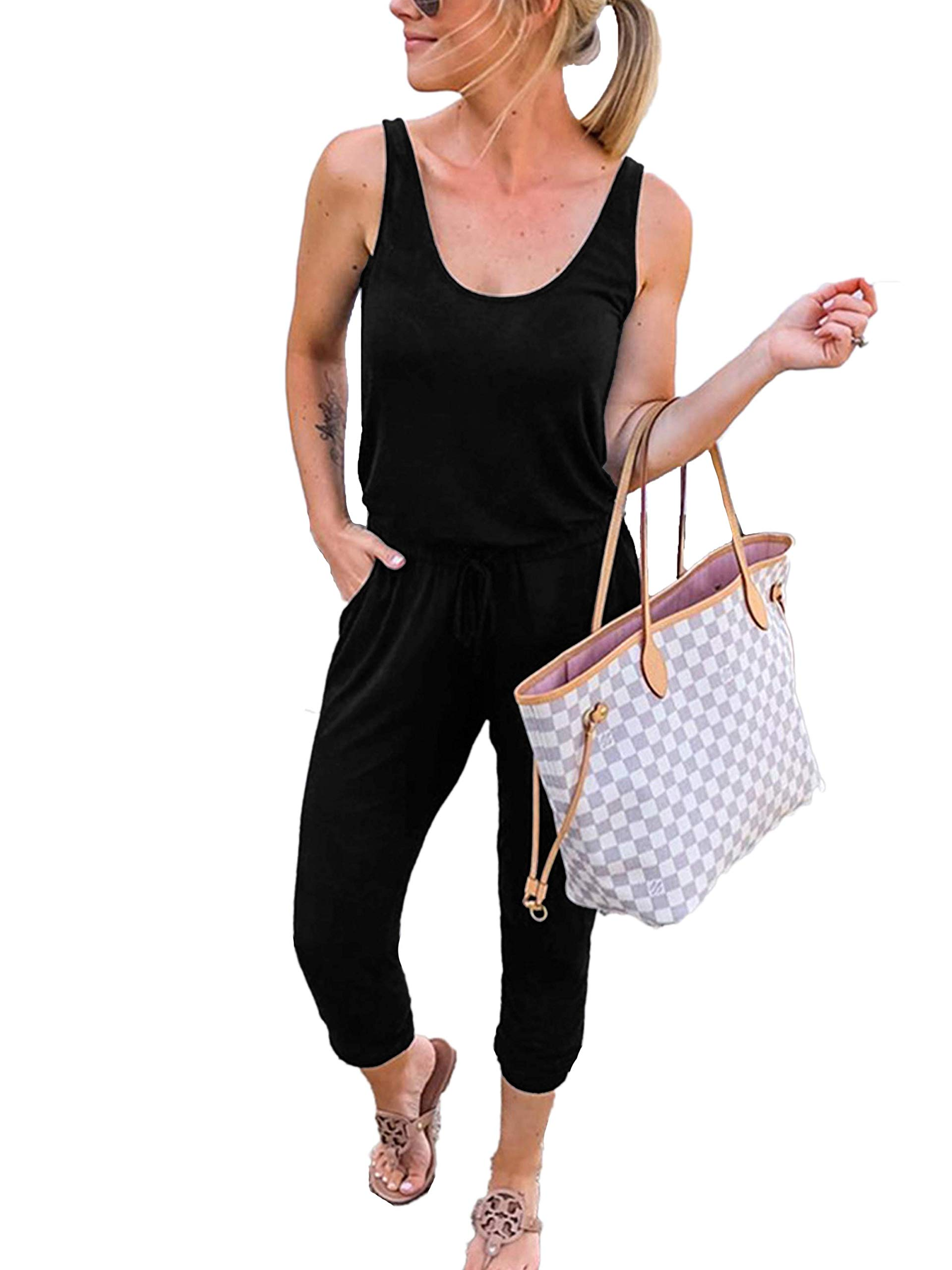 ANRABESS Women Summer Solid Casual Loose Sleeveless Jumpsuit Romper CWXheise-M WFF08