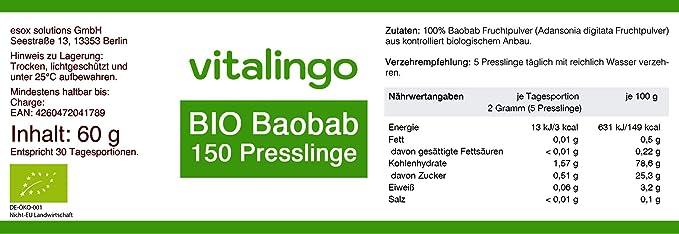Bio Baobab compactos - 150 compactos á 400mg