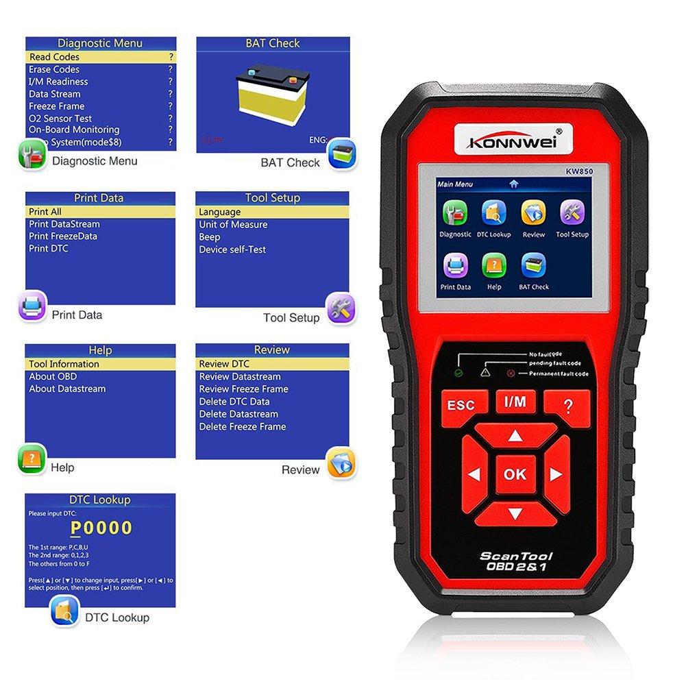 KONNWEI OBDII Auto Diagnostic Scanner Kw850/OBD2/EOBD Outil de syst/ème de moteur de v/éhicule universel Check Engine Light lecteur de code