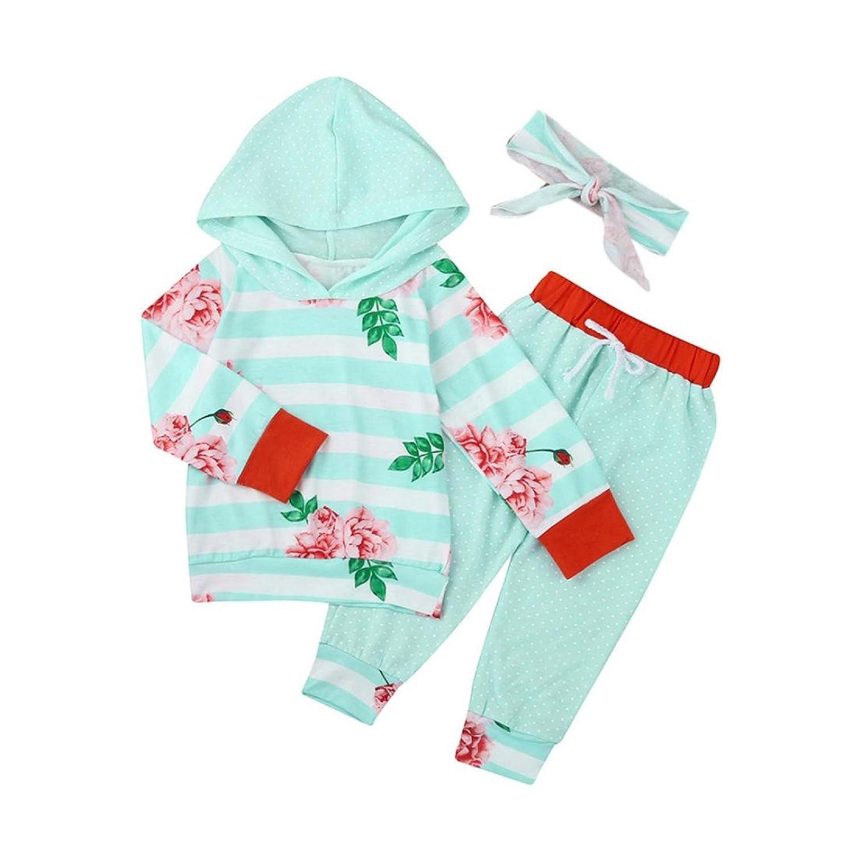 Juego de ropa de bebé, ppbuy Toddler Floral rayas con capucha Tops + Pants + diadema 3pcs Outfit: Amazon.es: Oficina y papelería