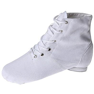 Oasap Women's Lace-up Flat Canvas Boots Jazz Dance Shoes, White EURO39/US8