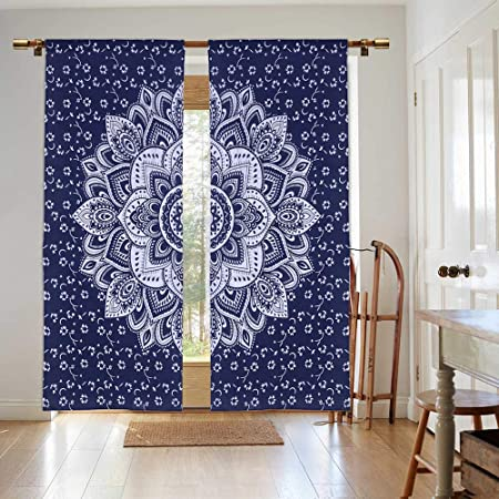 Madhu International Mandala Panel Curtain W41 X L88, Blue Silver