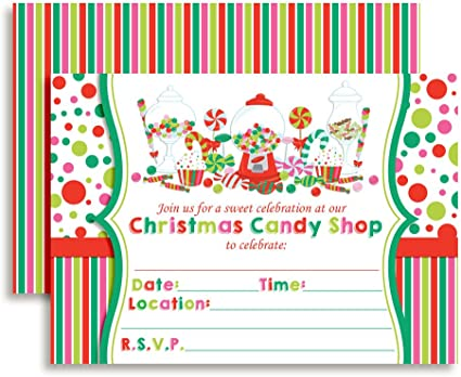 Sweet Shoppe Birthday Party Invitations