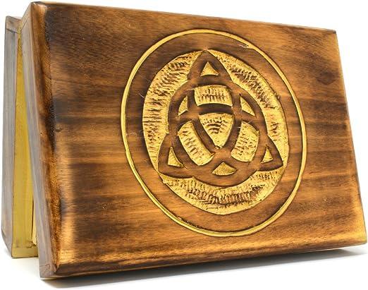 Triquetra sólido suave de madera tallada caja de Tarot 18 x 13 cm: Amazon.es: Hogar