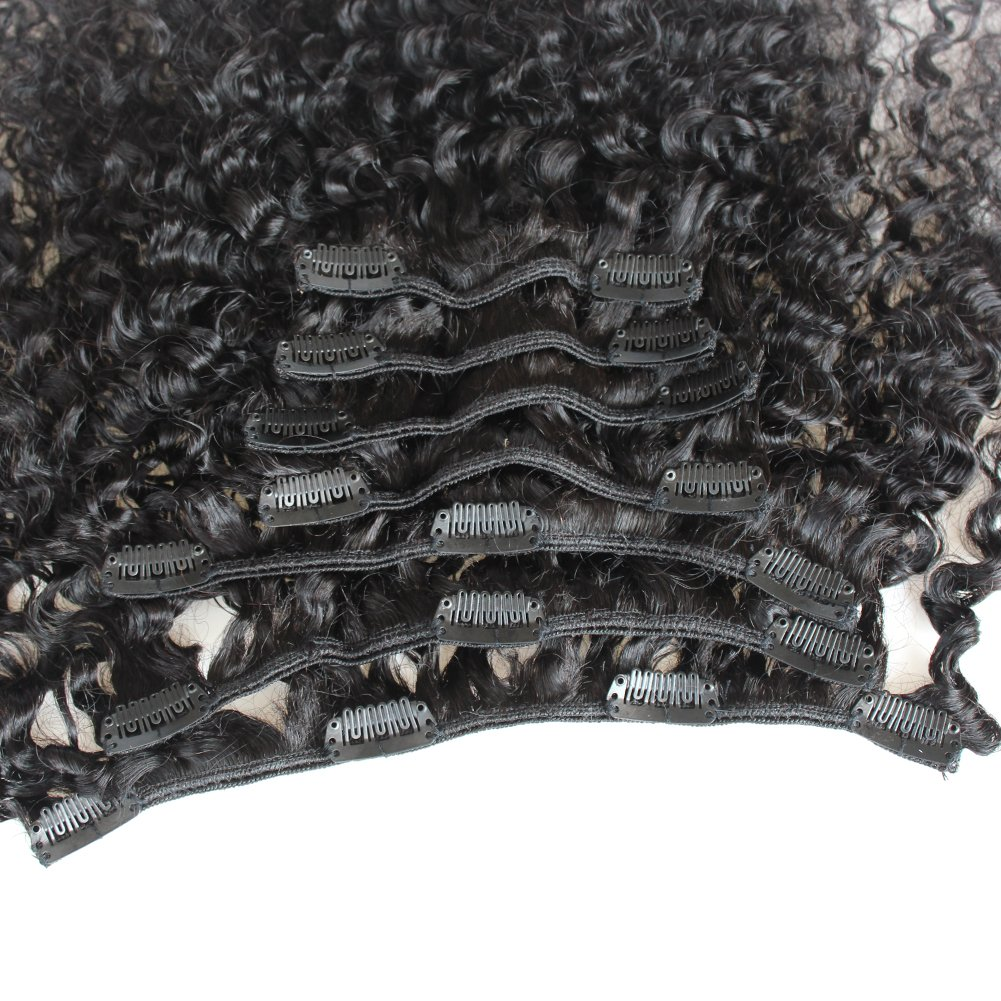 ZigZag Hair Afro Kinky Curly 3B 3C Clip in Hair Extensions for Black Women Peruvian Virgin Human Hair Clip Ins Natural Color (12inch, 3B 3C) by ZigZag Hair (Image #5)