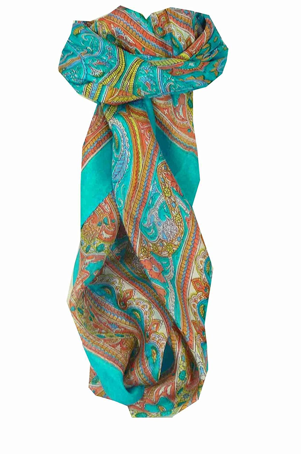 Square Traditional Silk Scarf Penner Aquamarine by Pashmina & Silk