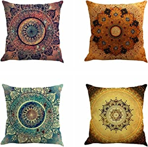 "Jartinle Set of 4 Retro Floral Mandala Compass Medallion Bohemian Boho Style Summer Decor Cushion Case Decorative for Sofa Couch 18"" x 18"" Inch Cotton Line (Floral Compass Medallion)"