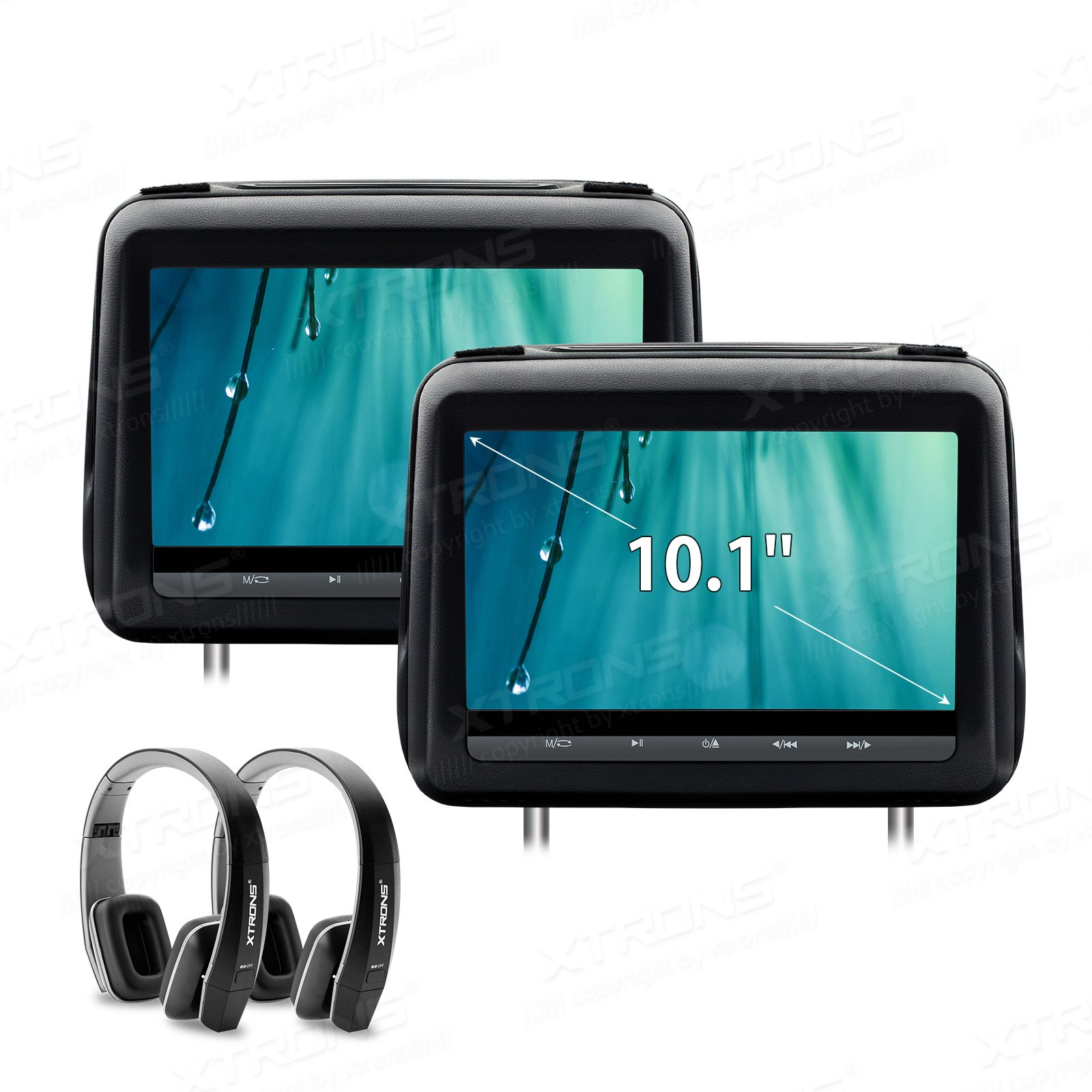 XTRONS 10.1 Inch HD Digital Screen Leather Cover Car Headrest DVD Player 1080P Video with HDMI Port Black New Version IR Headphones Included