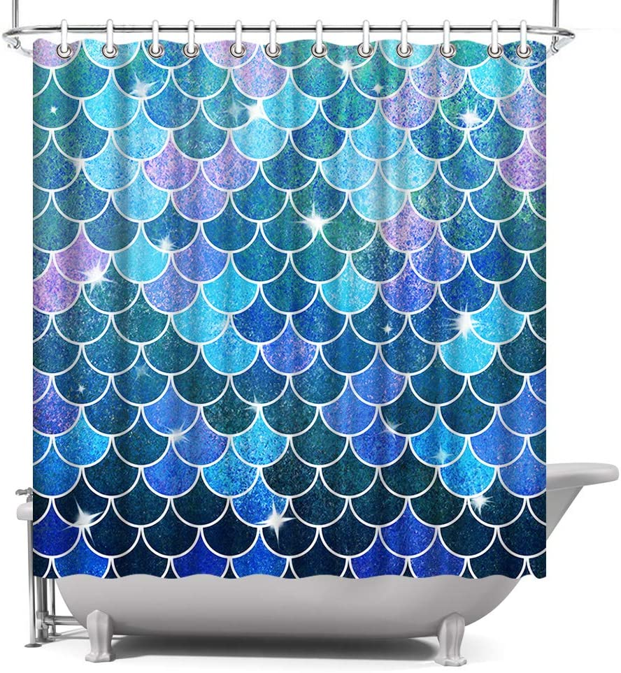 Artbones Mermaid Fish Scale Shower Curtain Blue And Purple 72x72 Inch With Hooks Waterproof Polyester Fabric Ocean Theme Bathroom Decor Kitchen Dining